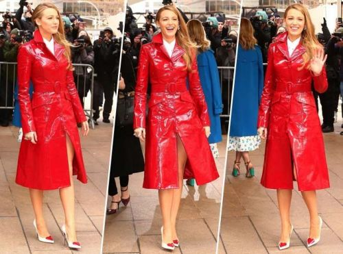 Blake Lively:  Qui valide son trench rouge en vinyle ?