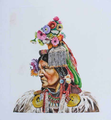Brillant Painting of the Indian Traditional Headdresses