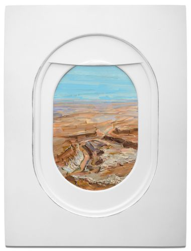 Painted Airplane Windows showing Luxurious Landscapes
