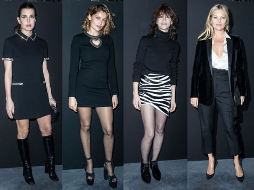 PHOTOS. Charlotte Casiraghi, Laetitia Casta, Salma Hayek. les people au défilé Saint Laurent à Paris